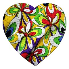 Colorful Textile Background Jigsaw Puzzle (heart) by Simbadda