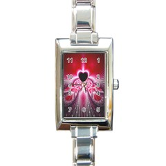 Illuminated Red Hear Red Heart Background With Light Effects Rectangle Italian Charm Watch by Simbadda