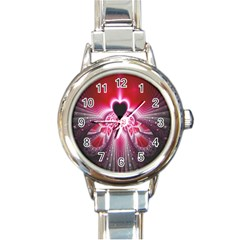 Illuminated Red Hear Red Heart Background With Light Effects Round Italian Charm Watch by Simbadda