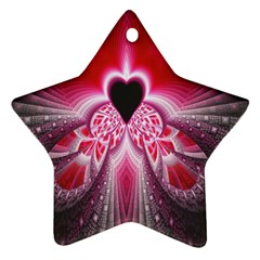 Illuminated Red Hear Red Heart Background With Light Effects Ornament (star) by Simbadda
