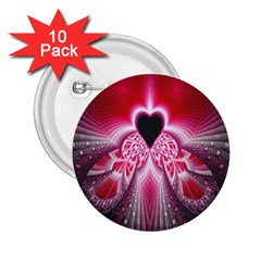 Illuminated Red Hear Red Heart Background With Light Effects 2 25  Buttons (10 Pack)