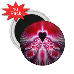 Illuminated Red Hear Red Heart Background With Light Effects 2 25  Magnets (10 Pack)