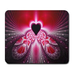 Illuminated Red Hear Red Heart Background With Light Effects Large Mousepads