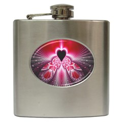 Illuminated Red Hear Red Heart Background With Light Effects Hip Flask (6 Oz) by Simbadda