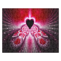 Illuminated Red Hear Red Heart Background With Light Effects Rectangular Jigsaw Puzzl by Simbadda