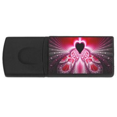 Illuminated Red Hear Red Heart Background With Light Effects Usb Flash Drive Rectangular (4 Gb) by Simbadda