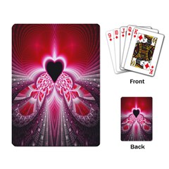 Illuminated Red Hear Red Heart Background With Light Effects Playing Card by Simbadda