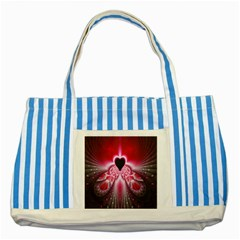 Illuminated Red Hear Red Heart Background With Light Effects Striped Blue Tote Bag by Simbadda