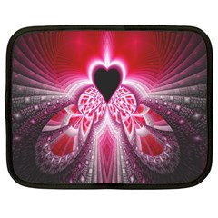Illuminated Red Hear Red Heart Background With Light Effects Netbook Case (large) by Simbadda