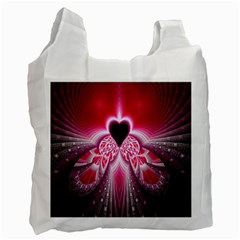 Illuminated Red Hear Red Heart Background With Light Effects Recycle Bag (one Side) by Simbadda