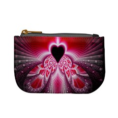 Illuminated Red Hear Red Heart Background With Light Effects Mini Coin Purses by Simbadda