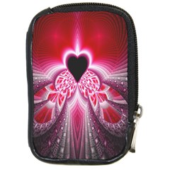 Illuminated Red Hear Red Heart Background With Light Effects Compact Camera Cases by Simbadda