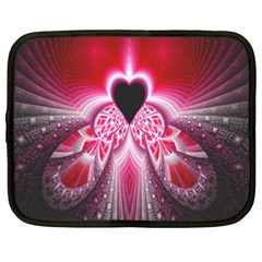 Illuminated Red Hear Red Heart Background With Light Effects Netbook Case (xxl)  by Simbadda