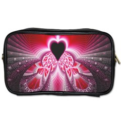 Illuminated Red Hear Red Heart Background With Light Effects Toiletries Bags by Simbadda