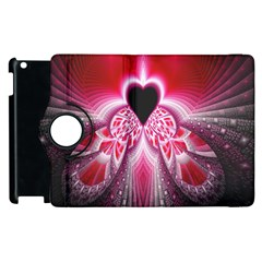 Illuminated Red Hear Red Heart Background With Light Effects Apple Ipad 2 Flip 360 Case