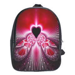 Illuminated Red Hear Red Heart Background With Light Effects School Bags (xl)  by Simbadda