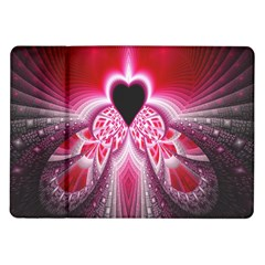 Illuminated Red Hear Red Heart Background With Light Effects Samsung Galaxy Tab 10 1  P7500 Flip Case by Simbadda