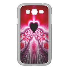 Illuminated Red Hear Red Heart Background With Light Effects Samsung Galaxy Grand Duos I9082 Case (white) by Simbadda