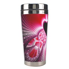 Illuminated Red Hear Red Heart Background With Light Effects Stainless Steel Travel Tumblers by Simbadda