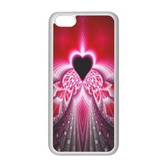 Illuminated Red Hear Red Heart Background With Light Effects Apple Iphone 5c Seamless Case (white) by Simbadda