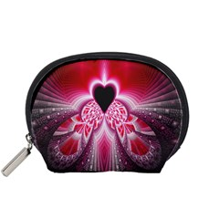 Illuminated Red Hear Red Heart Background With Light Effects Accessory Pouches (small)  by Simbadda
