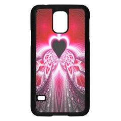 Illuminated Red Hear Red Heart Background With Light Effects Samsung Galaxy S5 Case (black) by Simbadda