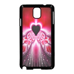 Illuminated Red Hear Red Heart Background With Light Effects Samsung Galaxy Note 3 Neo Hardshell Case (black) by Simbadda
