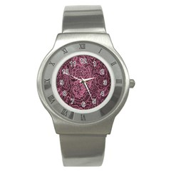 Abstract Purple Background Natural Motive Stainless Steel Watch