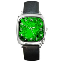 Leaf Outline Abstract Square Metal Watch by Simbadda
