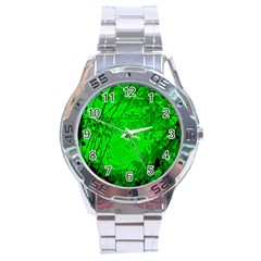 Leaf Outline Abstract Stainless Steel Analogue Watch