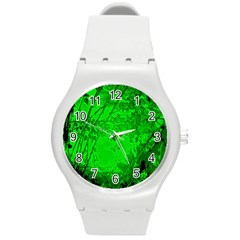 Leaf Outline Abstract Round Plastic Sport Watch (m) by Simbadda