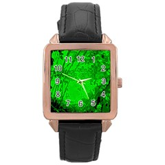 Leaf Outline Abstract Rose Gold Leather Watch