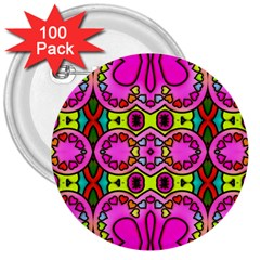 Colourful Abstract Background Design Pattern 3  Buttons (100 Pack)