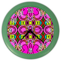 Colourful Abstract Background Design Pattern Color Wall Clocks by Simbadda
