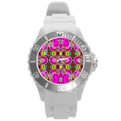 Colourful Abstract Background Design Pattern Round Plastic Sport Watch (l) by Simbadda