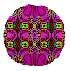 Colourful Abstract Background Design Pattern Large 18  Premium Round Cushions by Simbadda