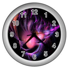 Fractal Image Of Pink Balls Whooshing Into The Distance Wall Clocks (silver)  by Simbadda