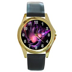 Fractal Image Of Pink Balls Whooshing Into The Distance Round Gold Metal Watch