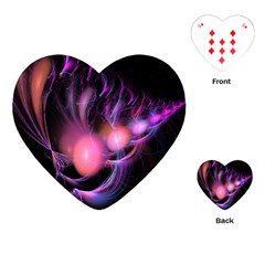 Fractal Image Of Pink Balls Whooshing Into The Distance Playing Cards (heart)  by Simbadda