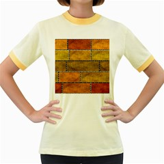 Classic Color Bricks Gradient Wall Women s Fitted Ringer T Shirts