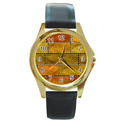 Classic Color Bricks Gradient Wall Round Gold Metal Watch by Simbadda