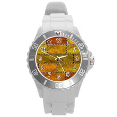 Classic Color Bricks Gradient Wall Round Plastic Sport Watch (l) by Simbadda