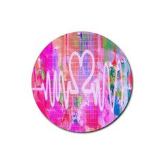Watercolour Heartbeat Monitor Rubber Round Coaster (4 Pack)