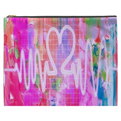 Watercolour Heartbeat Monitor Cosmetic Bag (xxxl)  by Simbadda