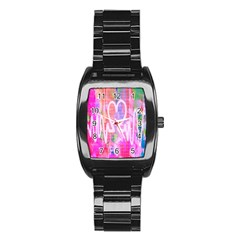 Watercolour Heartbeat Monitor Stainless Steel Barrel Watch by Simbadda