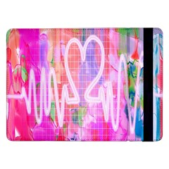 Watercolour Heartbeat Monitor Samsung Galaxy Tab Pro 12 2  Flip Case by Simbadda