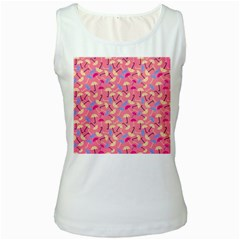Umbrella Seamless Pattern Pink Women s White Tank Top