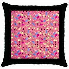 Umbrella Seamless Pattern Pink Throw Pillow Case (black) by Simbadda