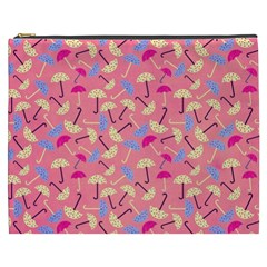 Umbrella Seamless Pattern Pink Cosmetic Bag (xxxl)  by Simbadda