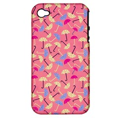Umbrella Seamless Pattern Pink Apple Iphone 4/4s Hardshell Case (pc+silicone)